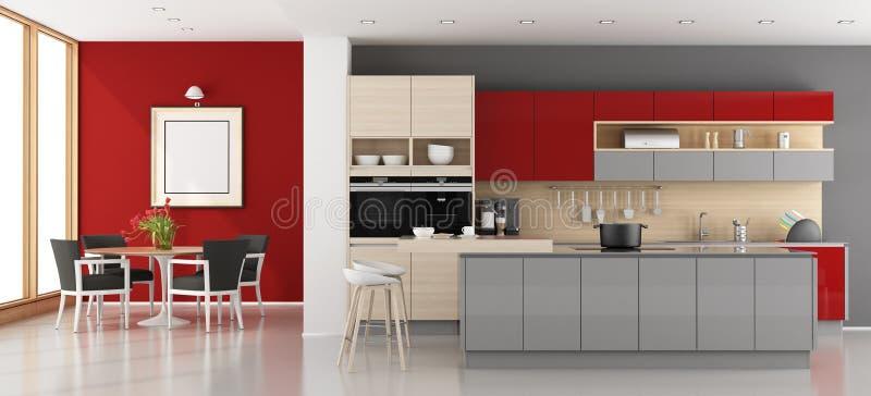 Cucina Moderna Rossa E Grigia Illustrazione di Stock ...