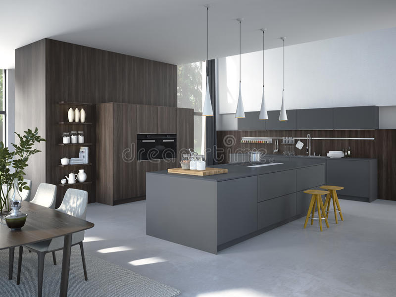 Cucina moderna in una casa o in un appartamento rappresentazione 3d immagini stock
