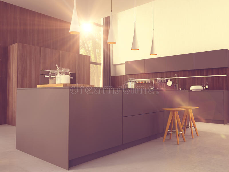 Cucina moderna in una casa o in un appartamento rappresentazione 3d fotografia stock