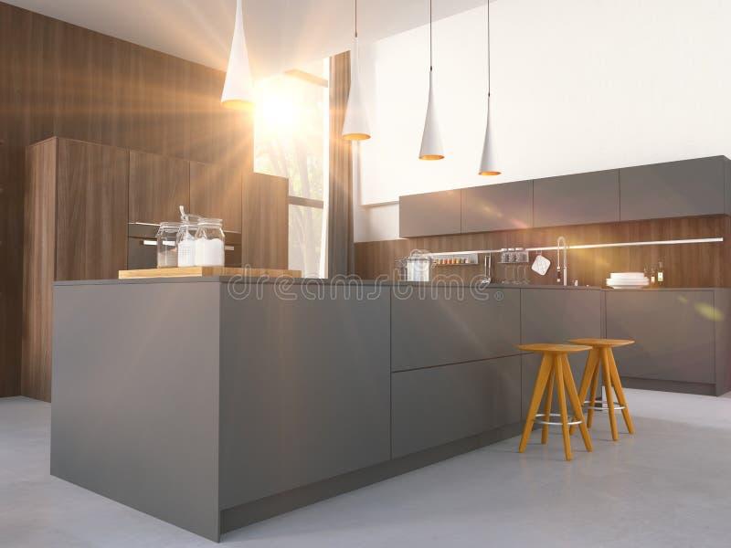 Cucina moderna in una casa o in un appartamento rappresentazione 3d fotografie stock libere da diritti