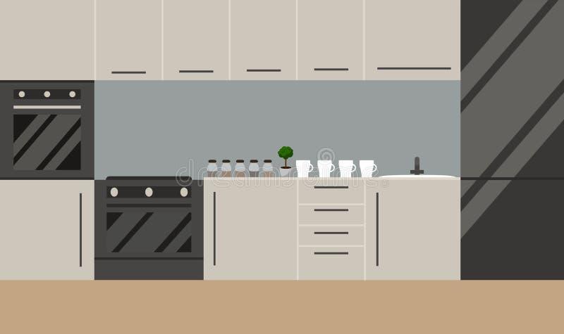 Cucina nello stile scandinavo Vettore Progettazione piana royalty illustrazione gratis