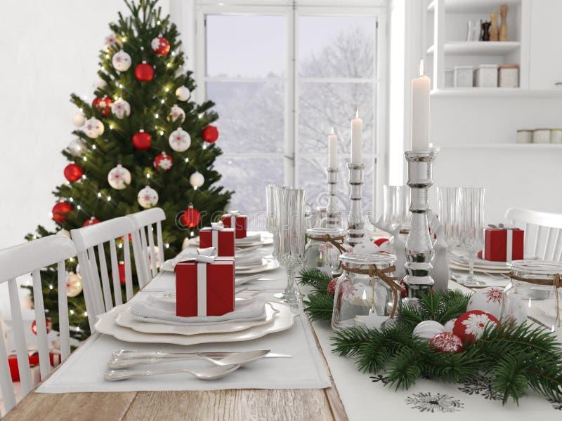 Cucina nordica con la decorazione di natale di giorno rappresentazione 3d royalty illustrazione gratis