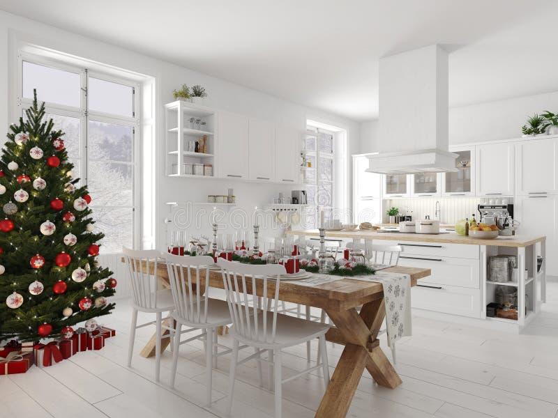 Cucina nordica con la decorazione di natale di giorno rappresentazione 3d illustrazione vettoriale