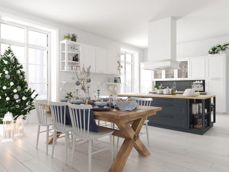 Cucina nordica con la decorazione di natale rappresentazione 3d royalty illustrazione gratis