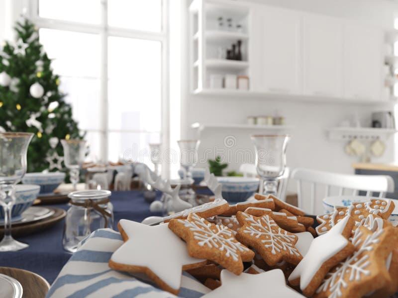 Cucina nordica con la decorazione di natale rappresentazione 3d illustrazione vettoriale