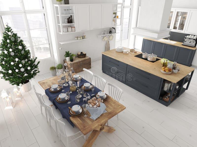 Cucina nordica con la decorazione di natale rappresentazione 3d illustrazione di stock