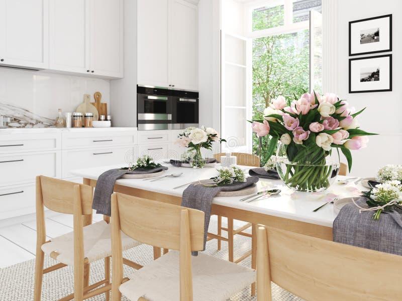 Cucina nordica moderna in appartamento del sottotetto rappresentazione 3d immagine stock