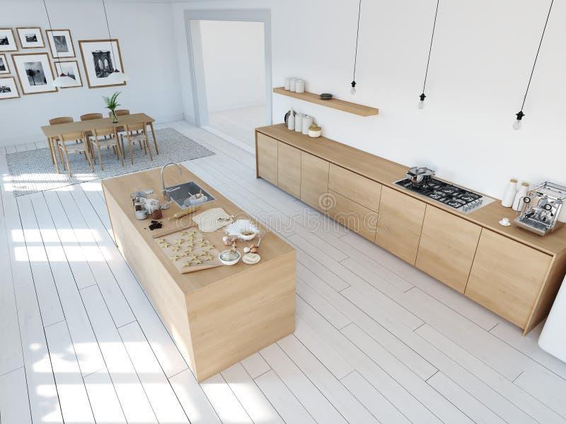 Cucina nordica moderna in appartamento del sottotetto rappresentazione 3d immagini stock libere da diritti