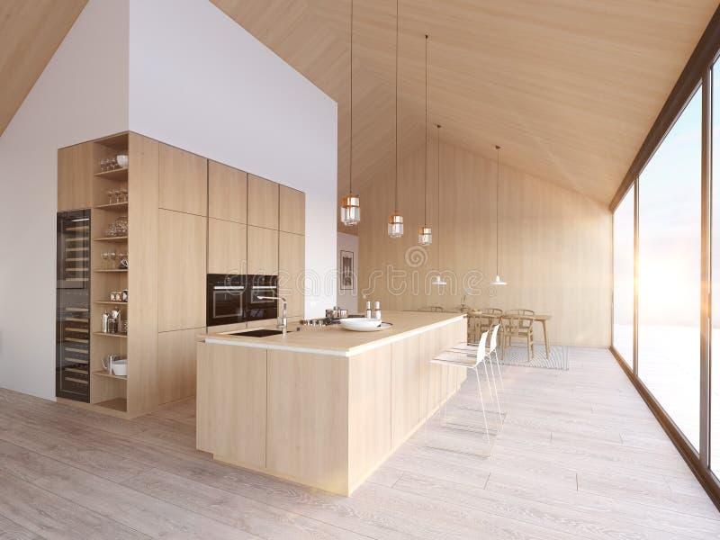 Cucina nordica moderna in appartamento del sottotetto rappresentazione 3d immagini stock