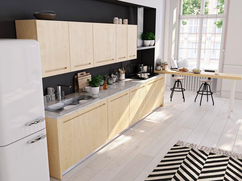 Cucina nordica moderna in appartamento del sottotetto rappresentazione 3d fotografie stock libere da diritti