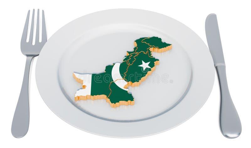 cucina pakistana Placca con la mappa del Pakistan rendering 3D illustrazione vettoriale