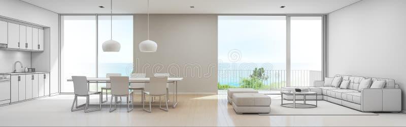Cucina, pranzare e salone di vista del mare della casa di spiaggia di lusso, progettazione di schizzo della casa di vacanza moder royalty illustrazione gratis