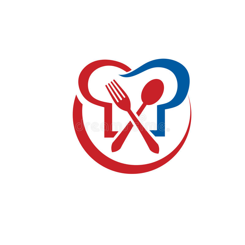Cucina, ristorante, cuoco unico, illustrazione di concetto di logo di vettore dell'alimento illustrazione vettoriale
