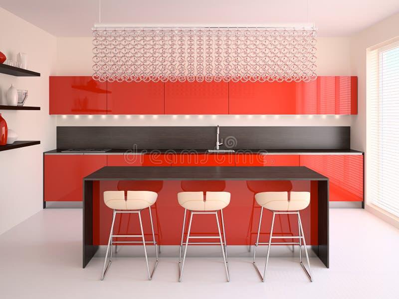 Cucina rossa moderna illustrazione di stock - Cucina moderna rossa ...