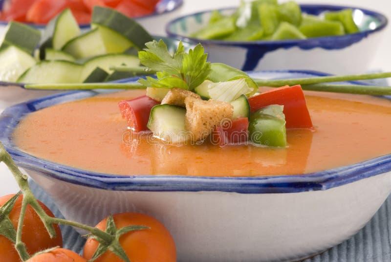 Cucina spagnola. Gazpacho. Minestra fredda andalusa. fotografia stock