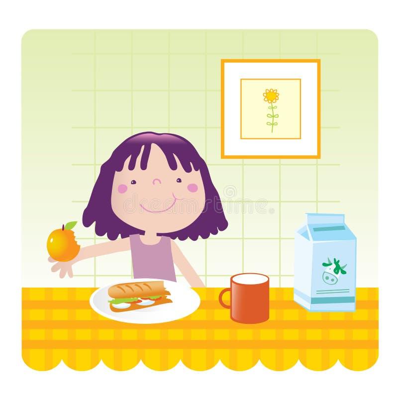 cucina sveglia della ragazza illustrazione vettoriale