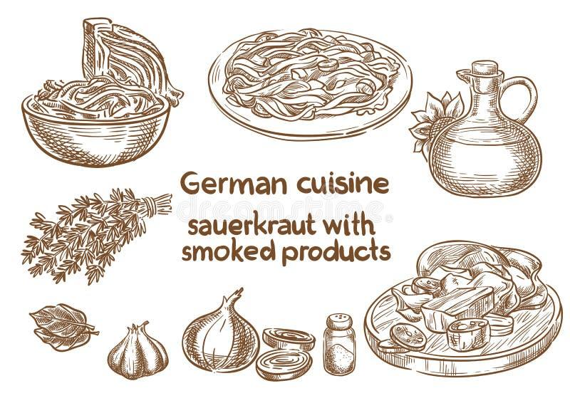 Cucina tedesca Crauti con gli ingredienti affumicati dei prodotti illustrazione di stock