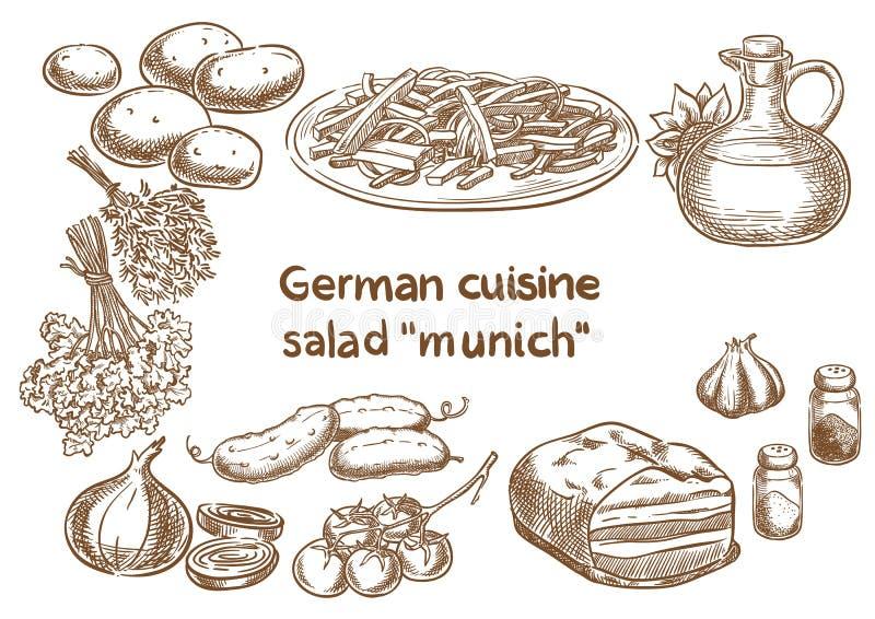 Cucina tedesca Ingredienti del ` di Monaco di Baviera del ` dell'insalata illustrazione vettoriale