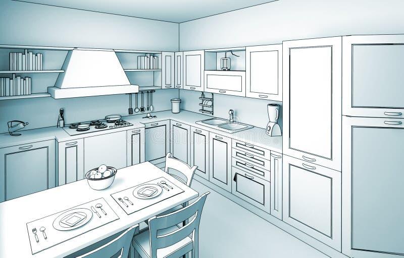 Cucina Toon 01 royalty illustrazione gratis