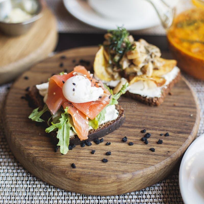 Cucina tradizionale danese Panino di Smorrebrod immagini stock libere da diritti