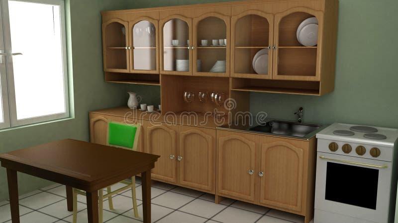 Cucina un interiore illustrazione di stock