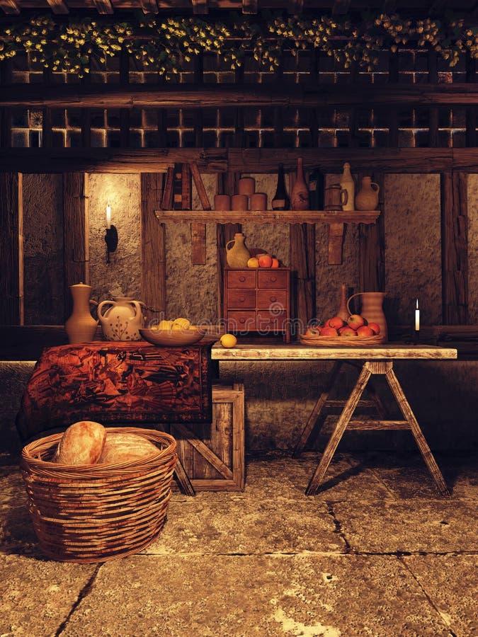 Cucina in una casa medievale illustrazione vettoriale