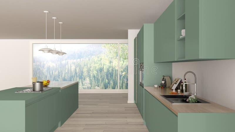 Cucina verde e di legno minimalista moderna con l'isola e la grande finestra panoramica, parquet, lampade di pendente, architettu illustrazione vettoriale