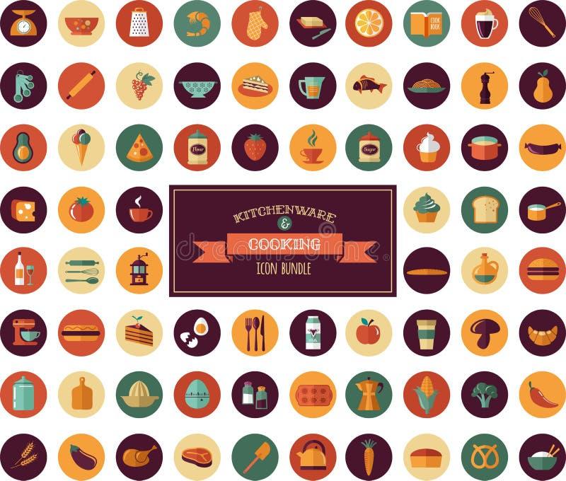 Cucinando & appoggiando le icone piane, elementi dell'articolo da cucina illustrazione vettoriale