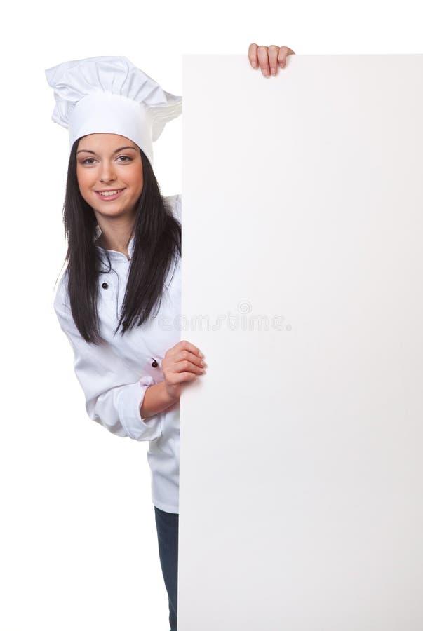 Cucinando con una tabella vuota come menu immagini stock