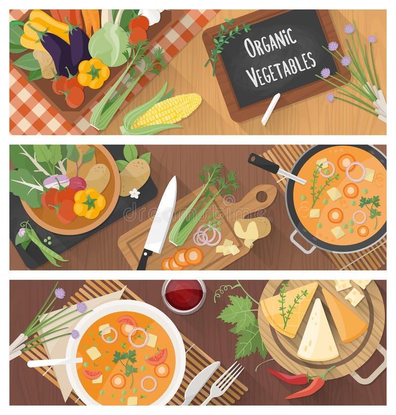 Cucinando e mangiando sano illustrazione vettoriale