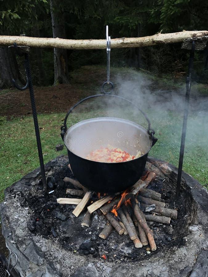 Cucinando goulash in calderone, esterno, in un campeggio fotografie stock libere da diritti