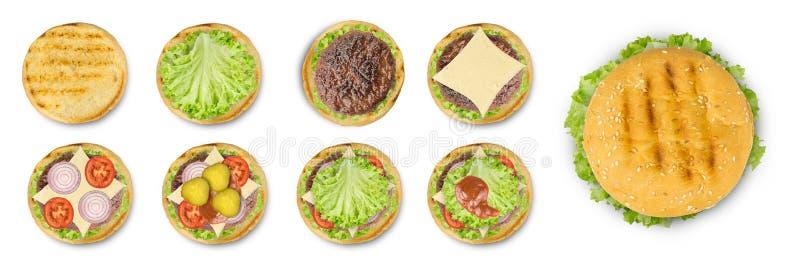 Cucinando hamburger per gradi isolato su fondo bianco fotografie stock