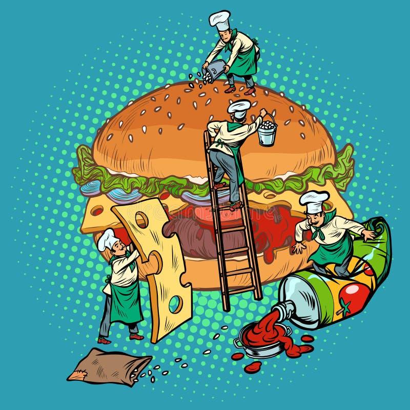 Cucinando l'hamburger, i mini cuochi unici riuniscono gli ingredienti illustrazione di stock