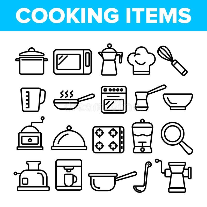 Cucinando la linea sottile insieme di vettore degli oggetti delle icone illustrazione vettoriale