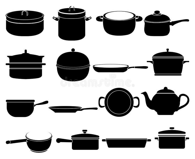 Cucinando le icone degli articoli messe illustrazione di stock