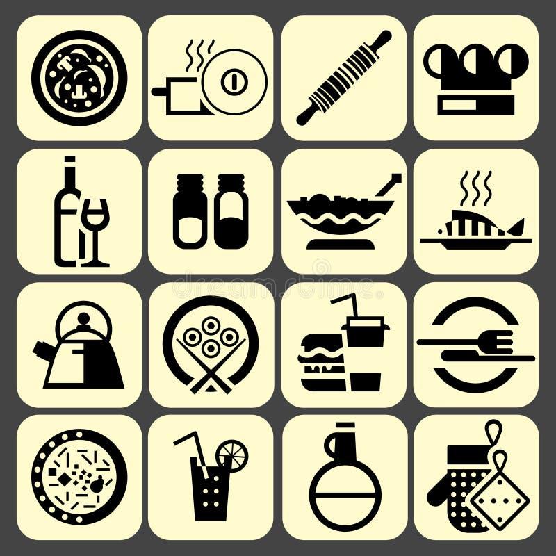 Cucinando le icone dell'alimento messe nere illustrazione di stock