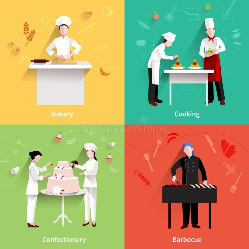Cucinando le icone impostate illustrazione vettoriale
