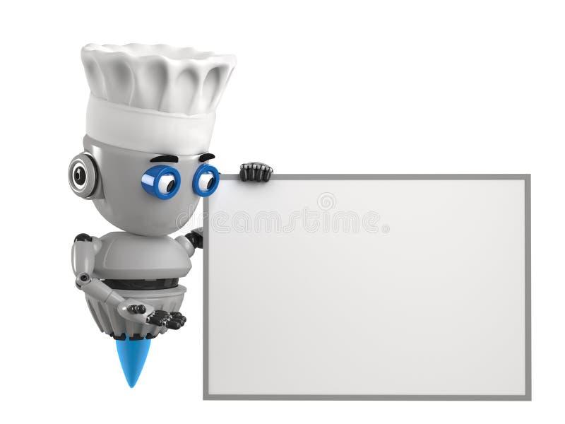 Cucini il robot mostra sul bordo vuoto con fondo bianco illustrazione vettoriale