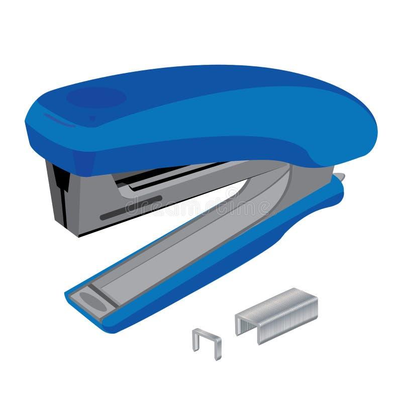 Cucitrice meccanica e Staples Cucitrice meccanica e graffette su fondo bianco Strumento dell'oggetto illustrazione di stock