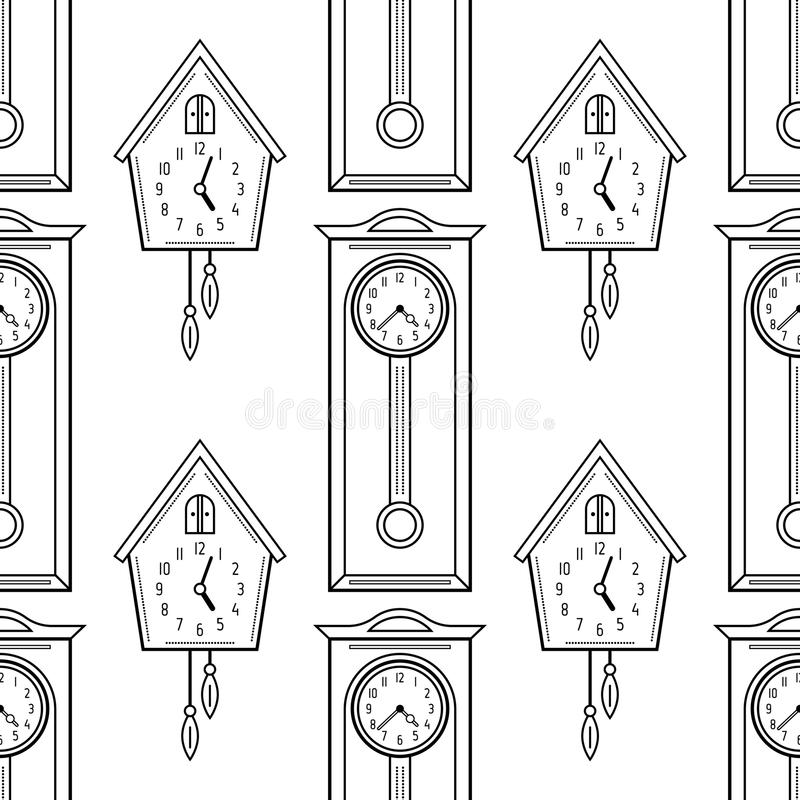 Download Cuckoo Clock And Grandfather Flat Linear Objects Black White Seamless Pattern