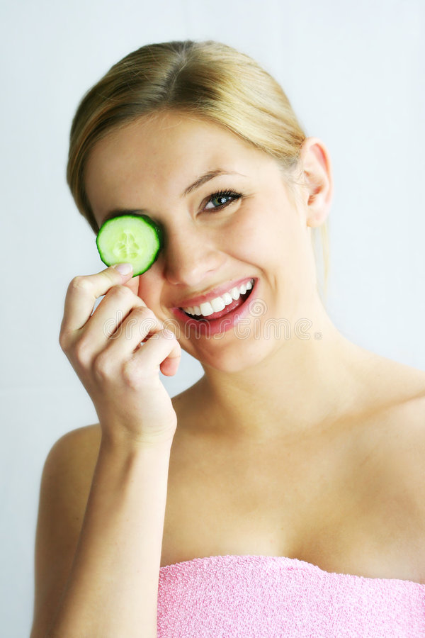 Cucumber face mask stock photo