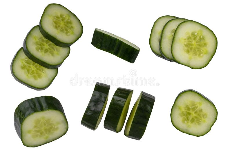 Cucumber isolated. Collection set of fresh slices cucumber isolated on a white background. Macro stock photography