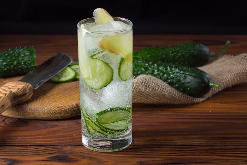 Cucumber lemonade with ice. royalty free stock photo