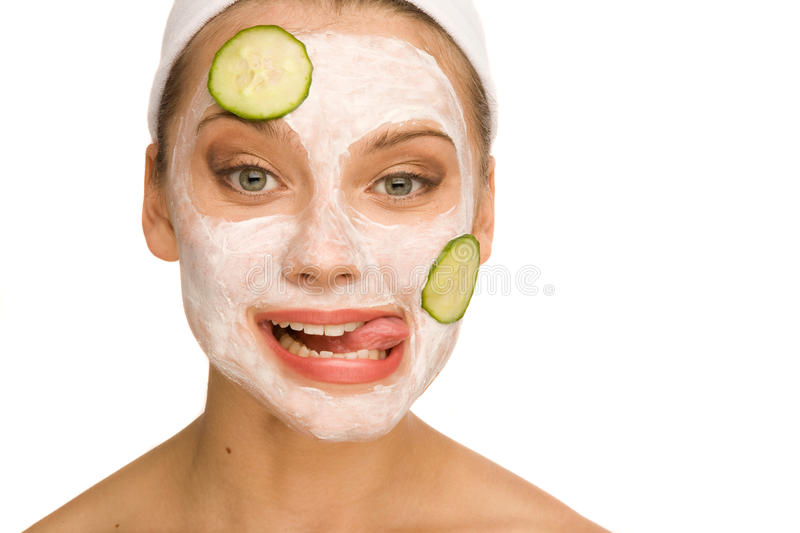 Download Cucumber mask stock image. Image of female, close, body - 27667541