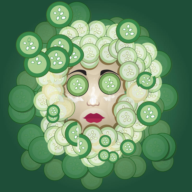 Cucumber mask. Many cucumber near and on the face of the woman vector illustration