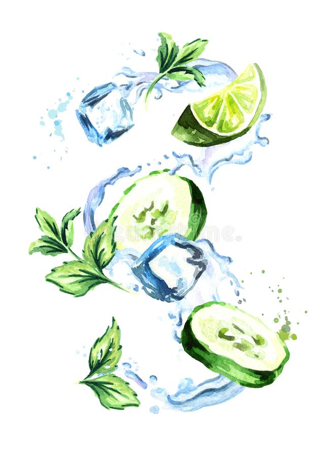 Cucumber Mint Cooler splash with ice cubes, lime, cucumber and mint leaf. Watercolor hand drawn illustration, isolated. On white background stock illustration