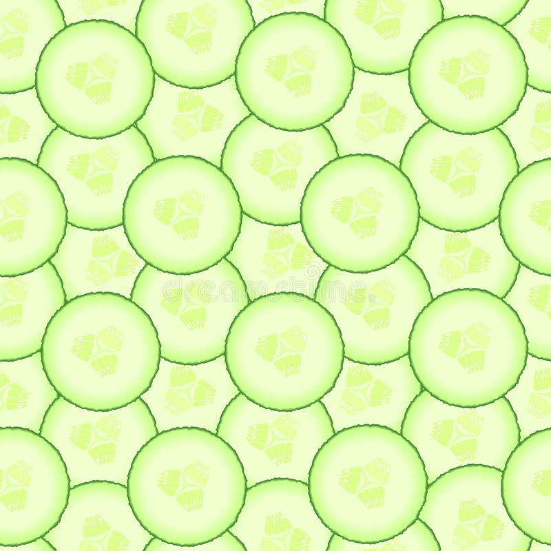 Cucumber pattern. Seamless background from slices of vegetable. Diet healthy organic food. Ingredient salad. Chopped the. Food the Cooking. Product from the stock illustration