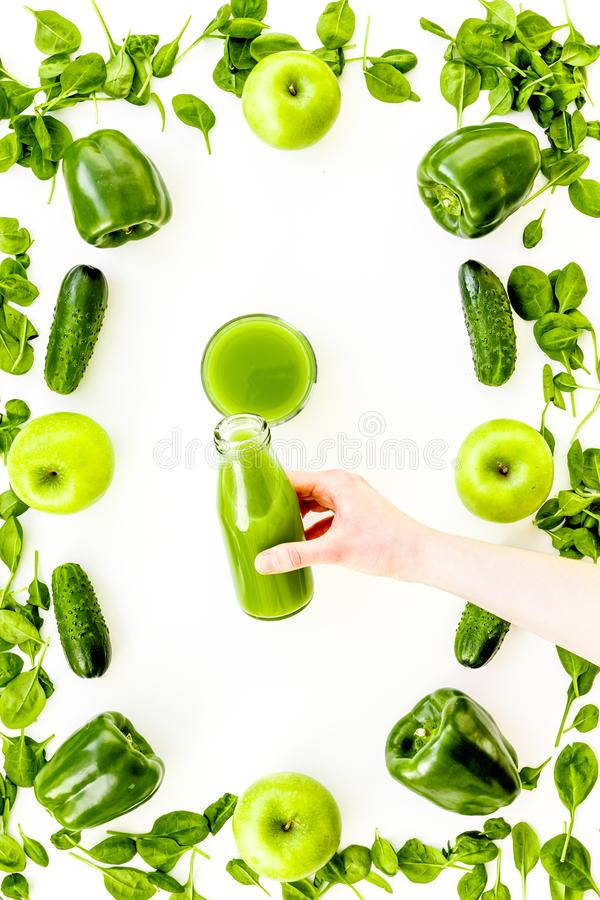 Cucumber, pepper, apple, celeriac. Vegetables for greeny organic smoothy for sport diet on stone background top view. Cucumber, pepper, apple, celeriac stock photo