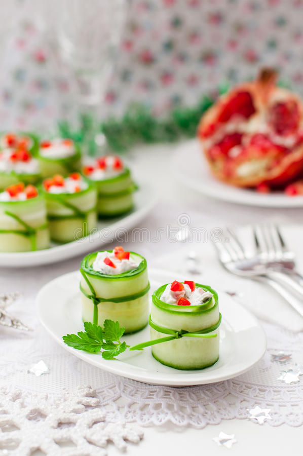 Cucumber Rolls Stuffed with Feta, Herbs, Capsicum and Black Olives royalty free stock photos
