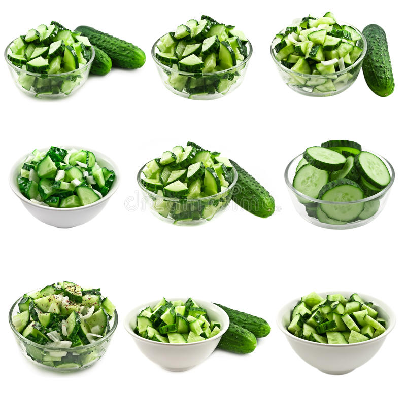 Download Cucumber salad collage stock image. Image of bowl, healthy - 17723087